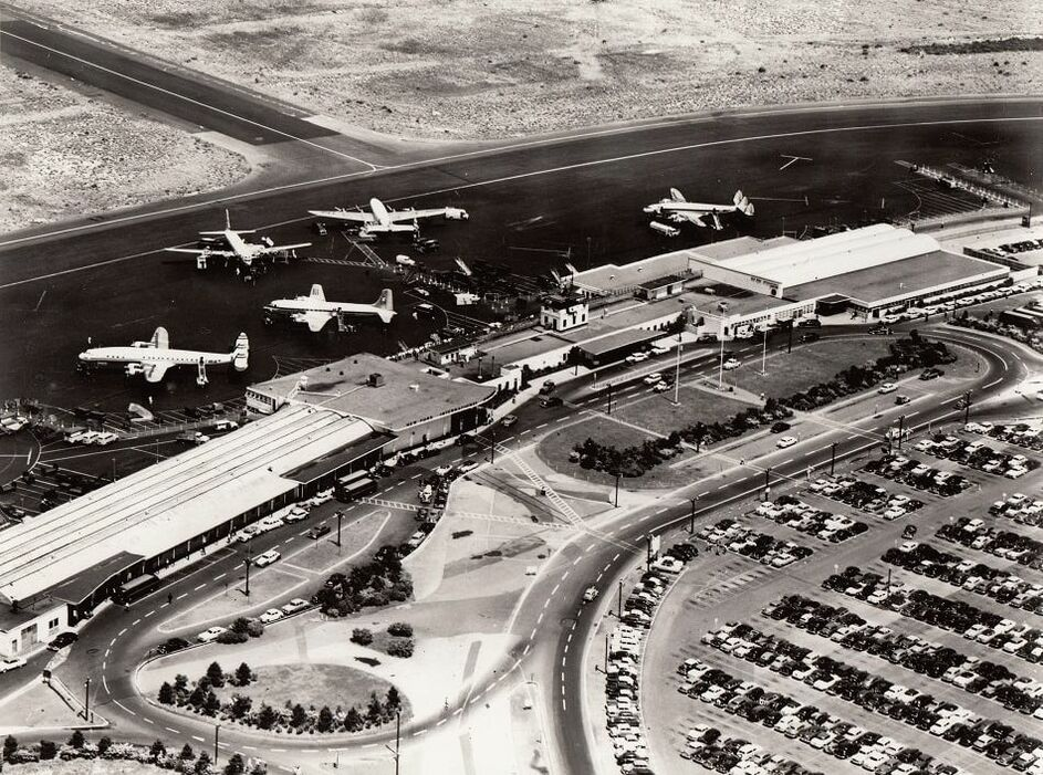 A 1953 aerial view of the Idlewild Airport Terminal