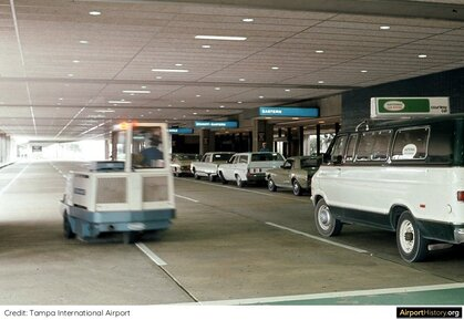 Tampa Airport's curbside in the early 1970s.
