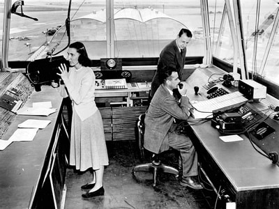 An interior view of the control tower at New York's Idlewild Airport