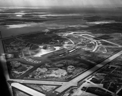 A 1949 aerial of New York International Airport looking west