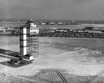 A 1952 view of the new 11-floor control tower at New York Idlewild Airport