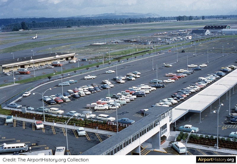 The parking lot of Portland International Airport in the early 1960s