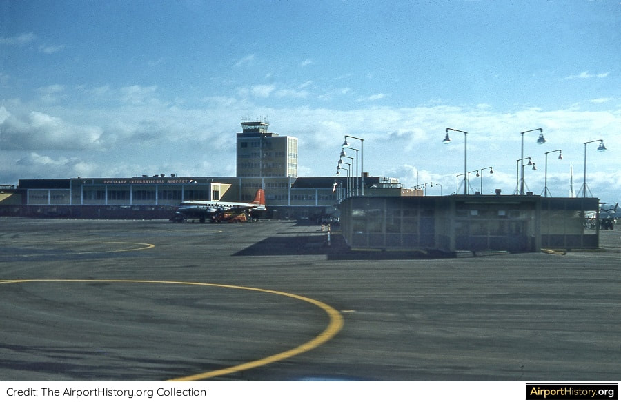 A ramp view of Portland International Airport in the early 1960s.