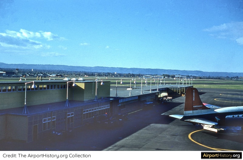 A rampview of Portland International Airport in the early 1960s.