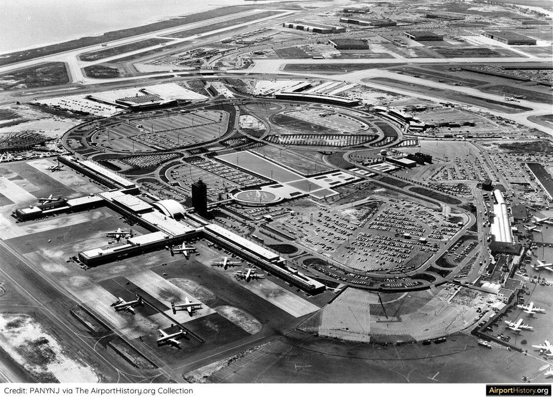A 1958 aerial view showing Terminal City under construction