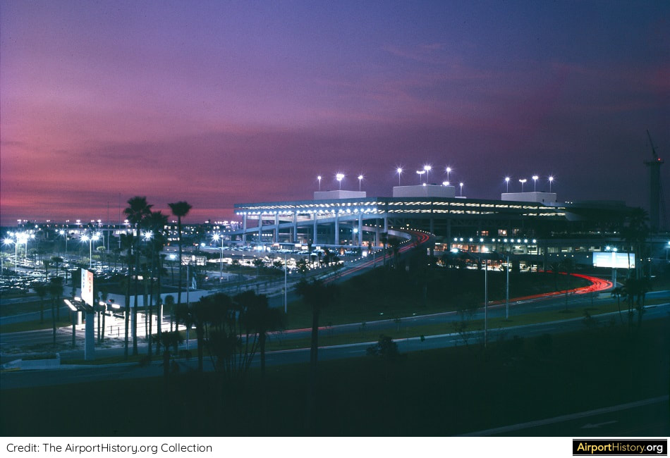 A dusk view of Tampa International Airport in the 1970s.