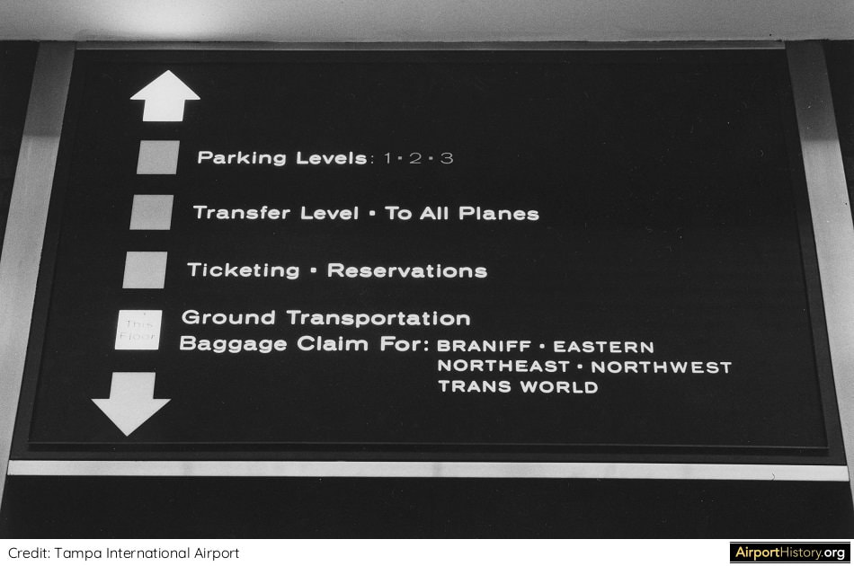 Tampa Airport elevator sign in the early 1970s.